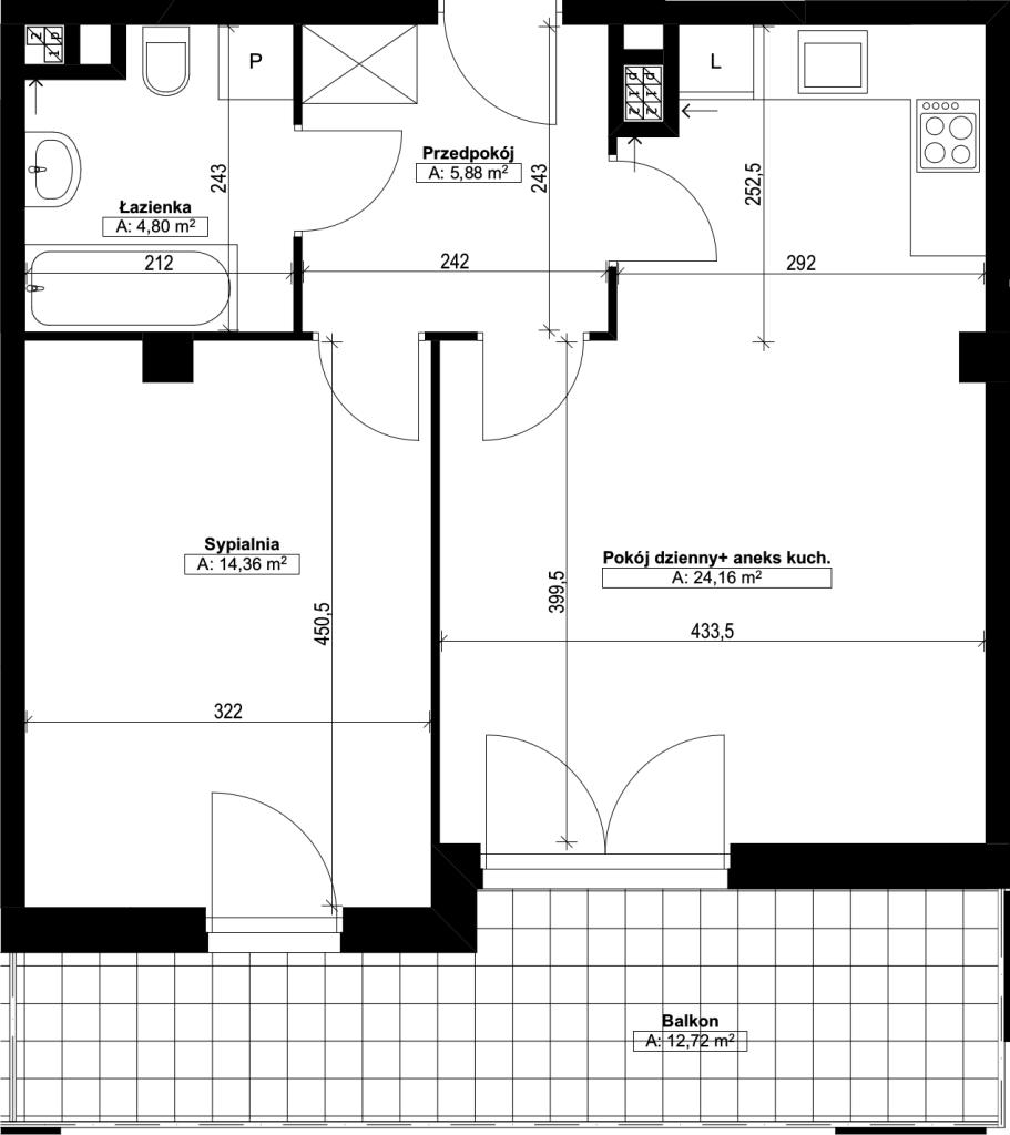dwupokojowe mieszkanie nr14