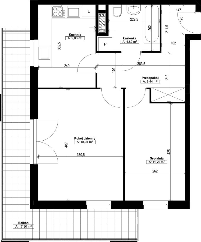 dwupokojowe mieszkanie nr18
