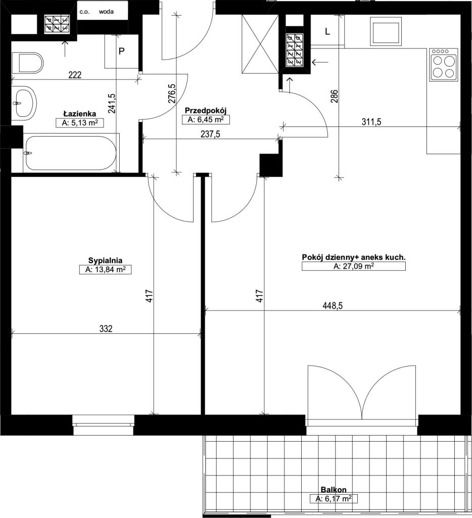 dwupokojowe mieszkanie nr19