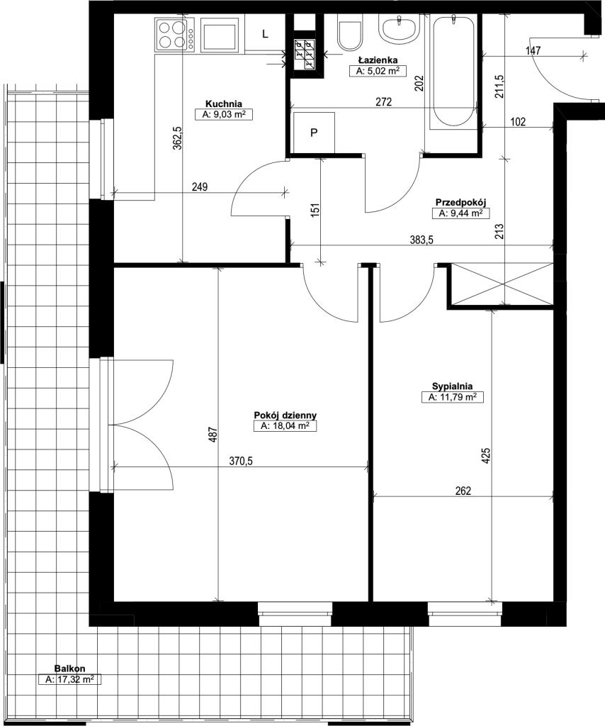 dwupokojowe mieszkanie nr6