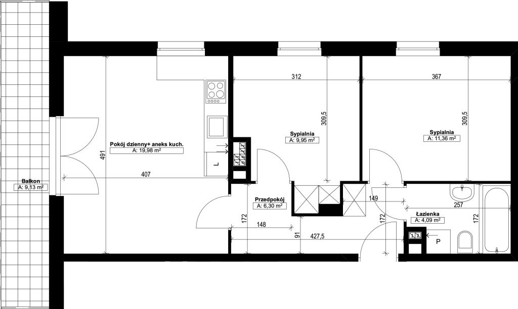 trzypokojowe mieszkanie nr11