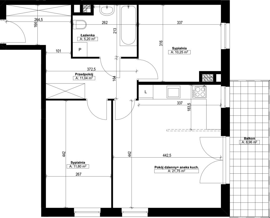 trzypokojowe mieszkanie nr15
