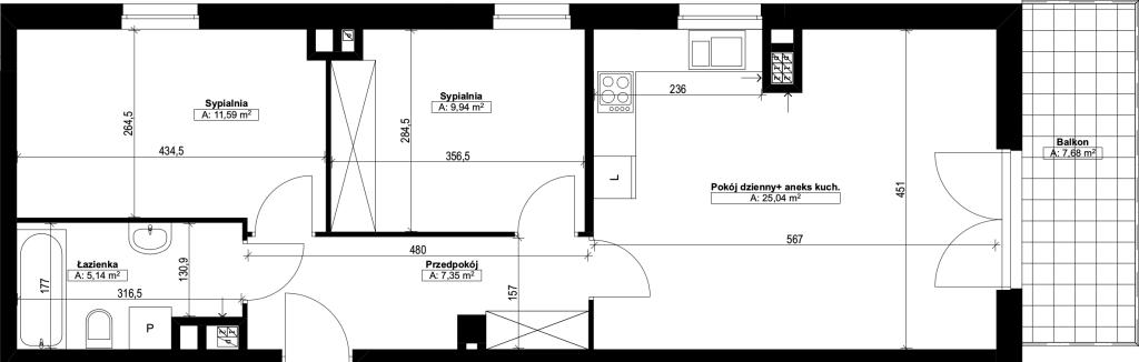 trzypokojowe mieszkanie nr16