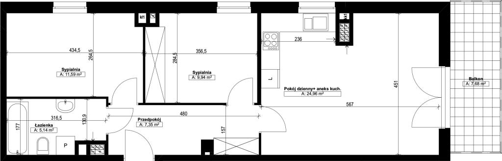 trzypokojowe mieszkanie nr22