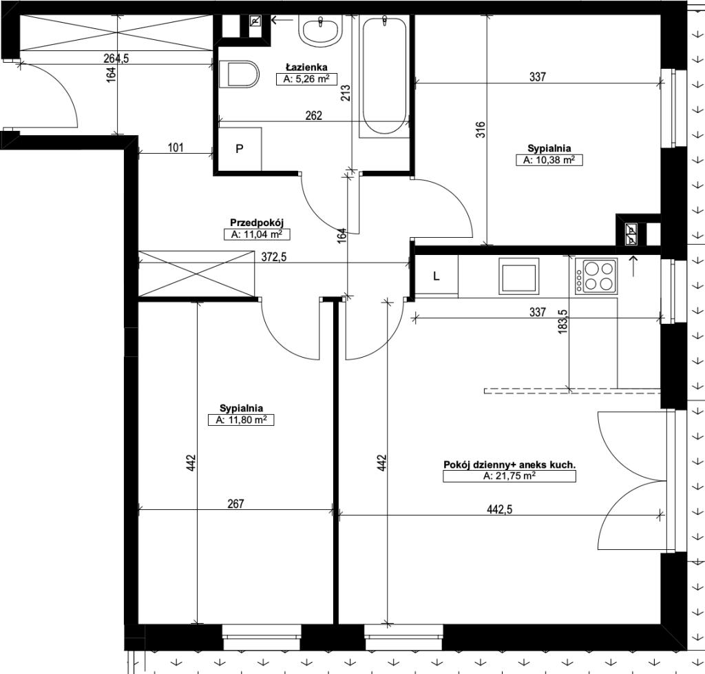 trzypokojowe mieszkanie nr3