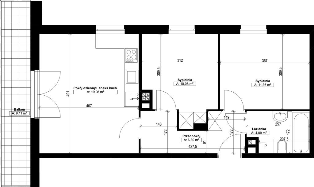 trzypokojowe mieszkanie nr5