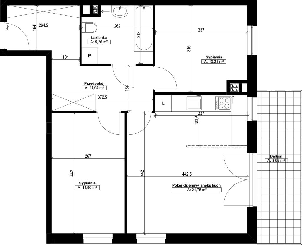 trzypokojowe mieszkanie nr9